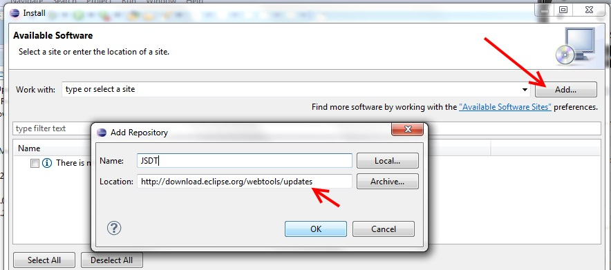 Eclipse Javascript Tool Add